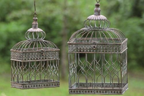 Only4You Cage à oiseaux décorative style colonial vintage Hauteur 46 cm