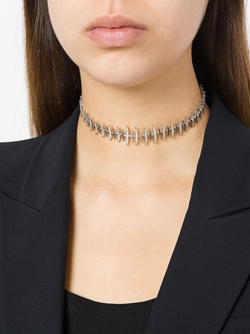 KAMUSHKI  wide 'Bone' diamond choker