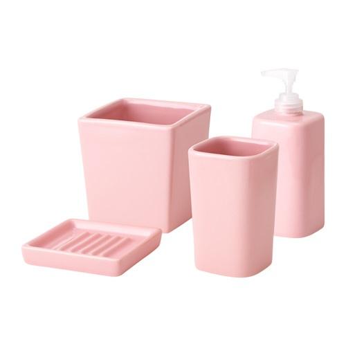 SEGEÅ Accessoires bain, 4 pièces, rose, blanc