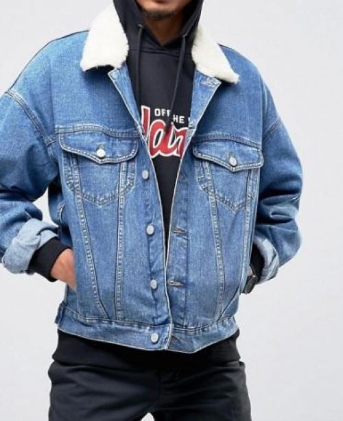 Asos - Veste en jean col fourrure