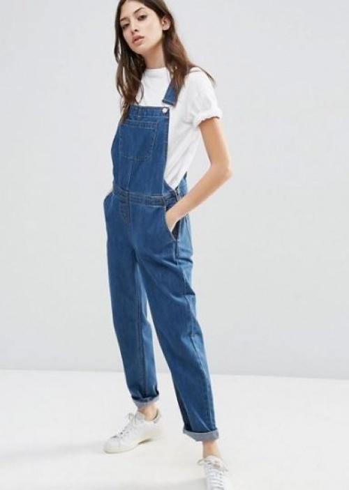 Asos - Salopette en jean bleu délavé