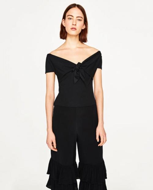 Zara - T-shirt à noeud