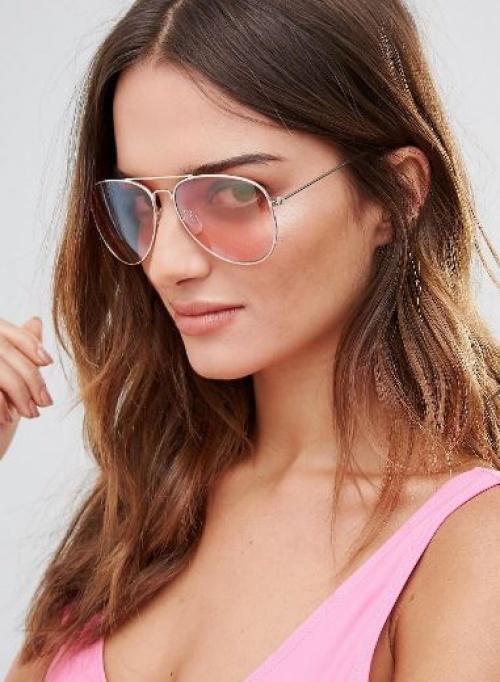 South Beach - Lunettes de soleil aviateur à verres roses