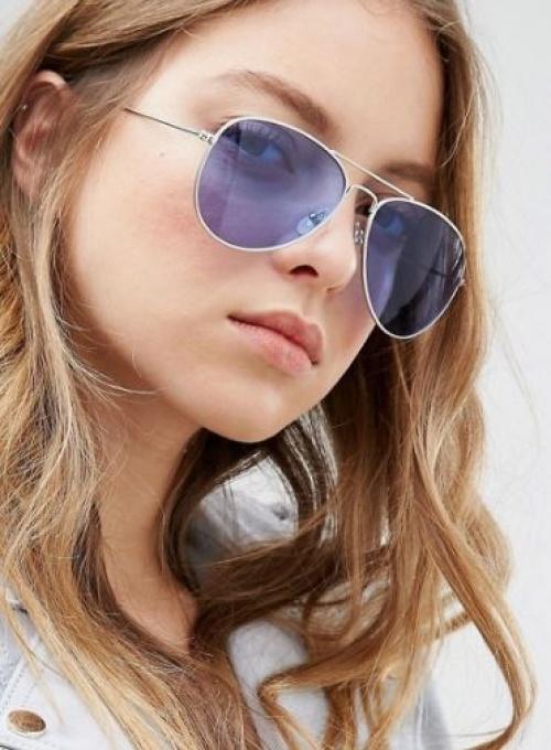 Jeepers Peepers - Lunettes de soleil aviateur avec verres teintés bleus