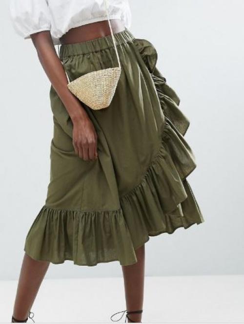 Asos - Jupe portefeuille en coton avec ourlet volanté