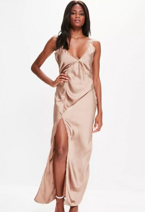 Slip dress longue fendue