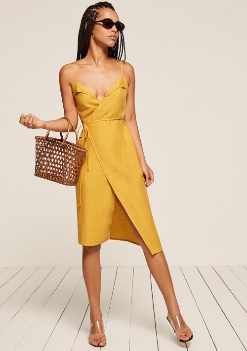 Slip dress jaune satinée