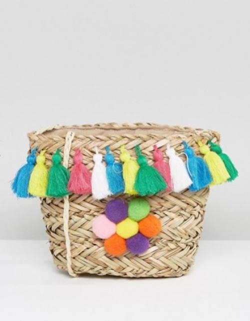 Glamorous - Sac bandoulière en paille avec pompons