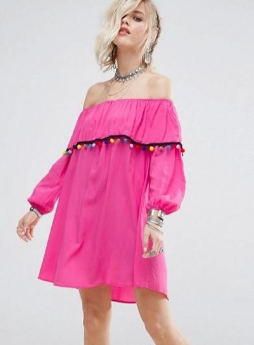 Glamorous - Robe à épaules dénudées et bordée de pompons