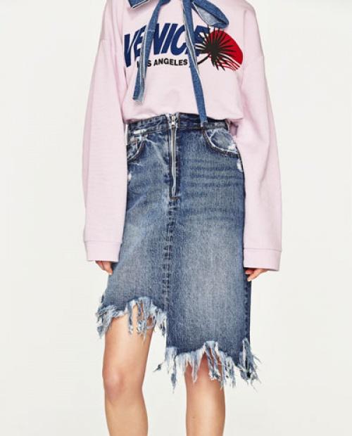 Zara - Jupe asymétrique jean