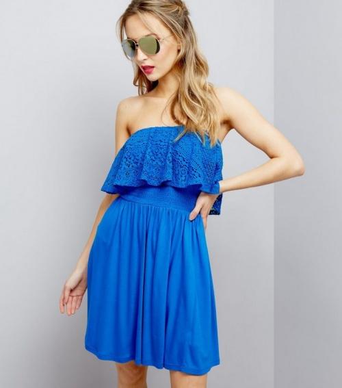 New Look - Robe de plage bandeau bleue en dentelle