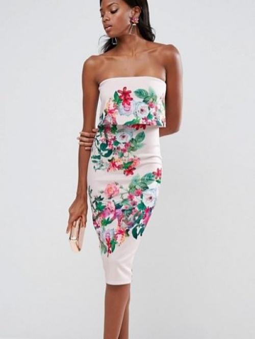 Asos - Robe bandeau mi-longue en néoprène à fleurs
