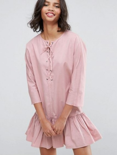 Asos - Robe casual taille basse à encolure lacée