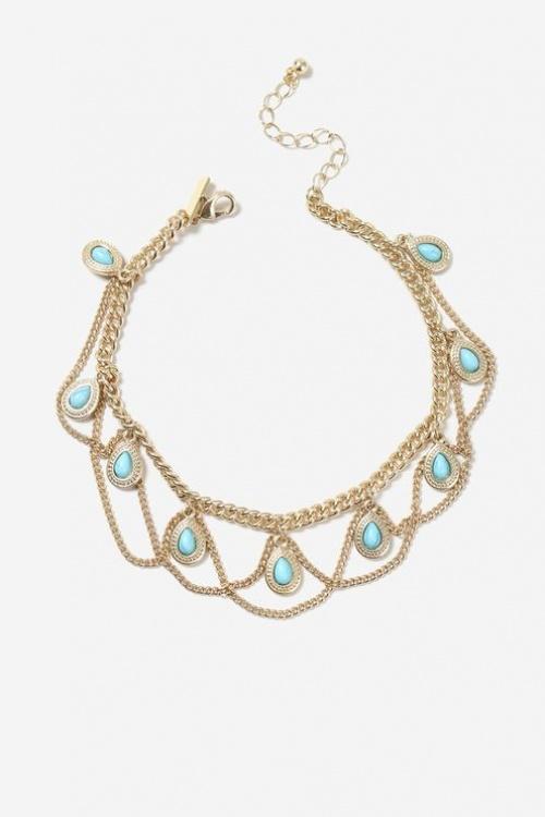 Topshop- Bracelet de cheville fantaisie avec pierres