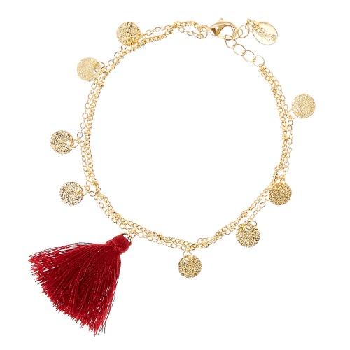 Claire's - Bracelet de cheville avec pompom rouge