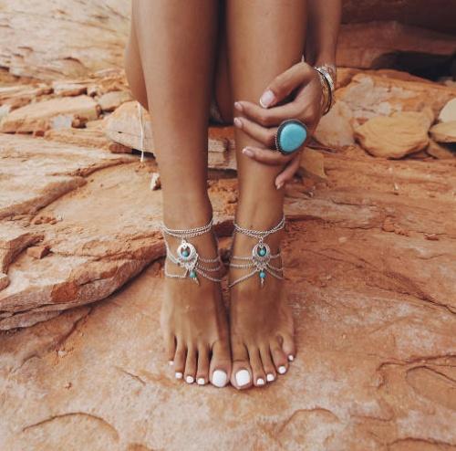 Etsy - Bracelet de cheville avec pierres turquoises
