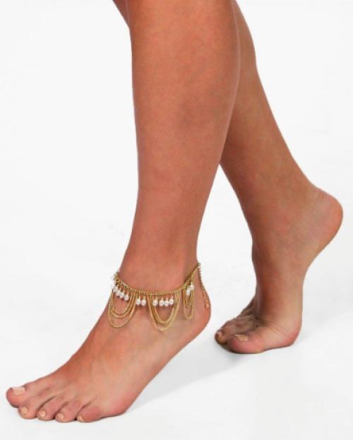Boohoo - Bracelet de cheville perles et chaines