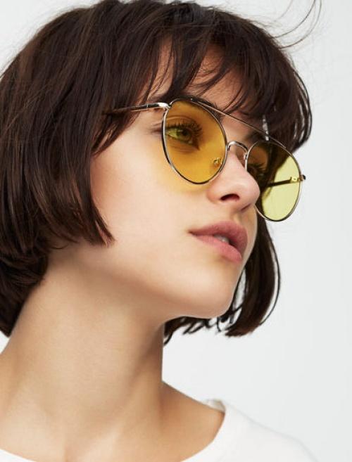 Pull & Bear - Lunettes de soleil aviateur miroir jaunes