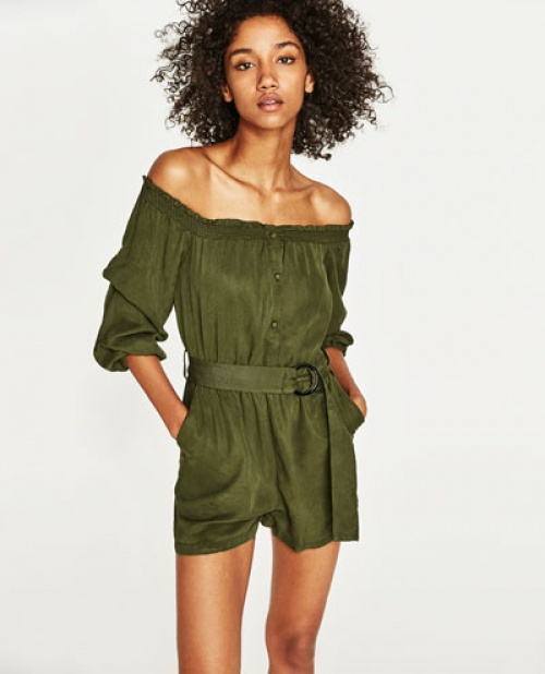 Zara - Combinaison short à épaules dénudées