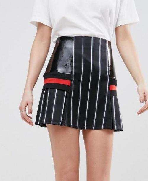Asos White - Mini-jupe à rayures fines et empiècements contrastants