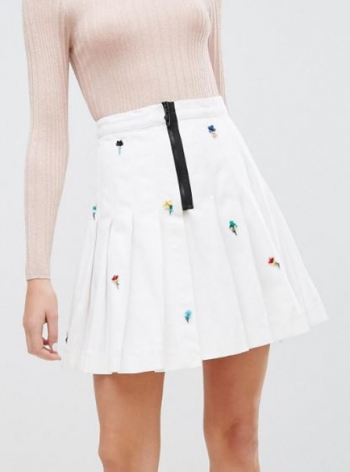 Sonia By Sonia Rykiel - Mini-jupe plissée en jean à ornements