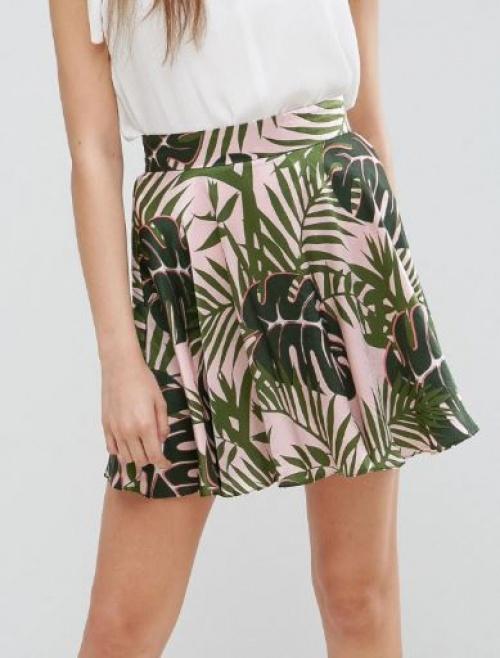 Asos - Mini-jupe en satin à imprimé palmier