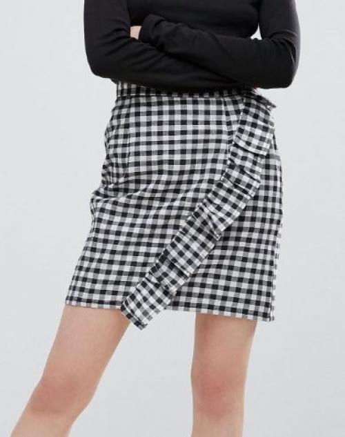 Plain Studios - Mini-jupe à motif vichy et volants