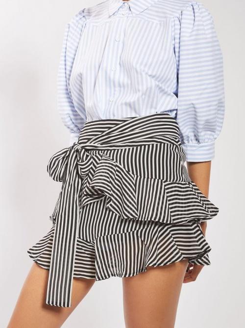 Topshop - Mini-jupe rayée volantée