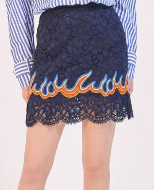 Sandro - Mini-jupe dentelle et flammes