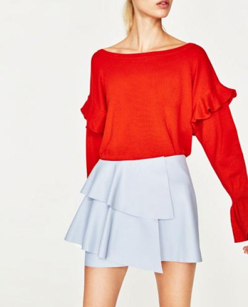 Zara - Mini-jupe volantée effet cuir