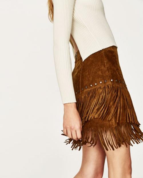 Zara - Mini-jupe suède à franges