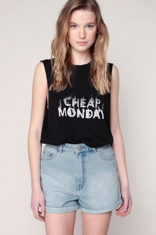Cheap Monday - Débardeur noir imprimé logo larges emmanchures