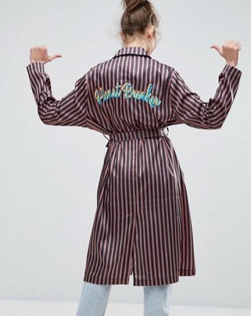 Asos - Kimono rayé avec broderie