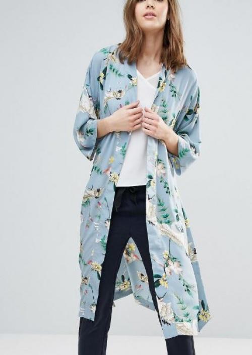 Y.A.S Tall - Kimono croisé à imprimé grue