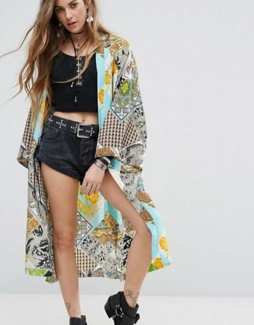 Reclaimed Vintage Inspired - Kimono avec liens frangés