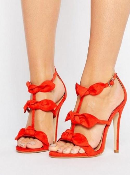 Public Desire - Sandales à talons avec nœuds - Rouge tomate