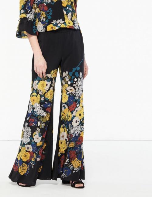 Sandro - Pantalon fleuri en soie