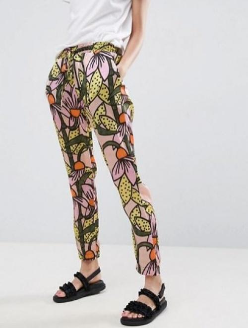 Asos Made In Kenya - Pantalon à enfiler en satin imprimé fleuri effet tropical