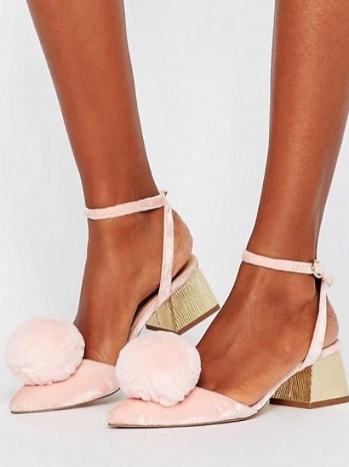 Asos - Chaussures à talons moyens ornées de pompons