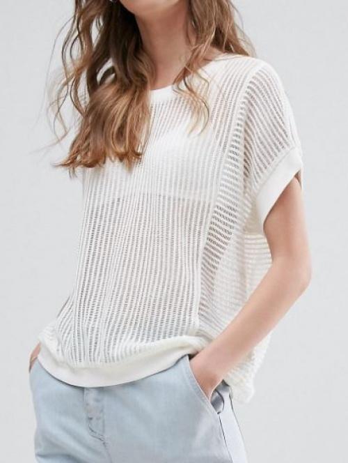 Vero Moda - Top transparent avec encolure côtelée
