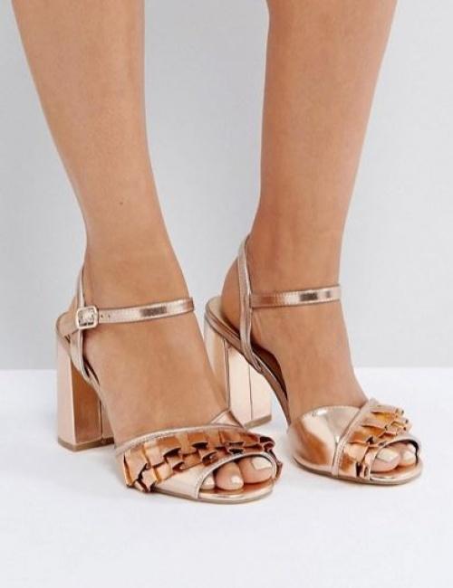 New Look - Sandales métallisées à talon carré et volants