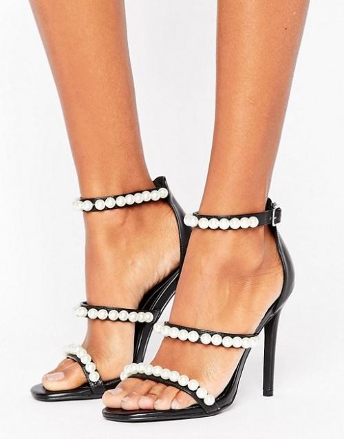 Missguided - Sandales minimalistes à talons et brides ornées de perles
