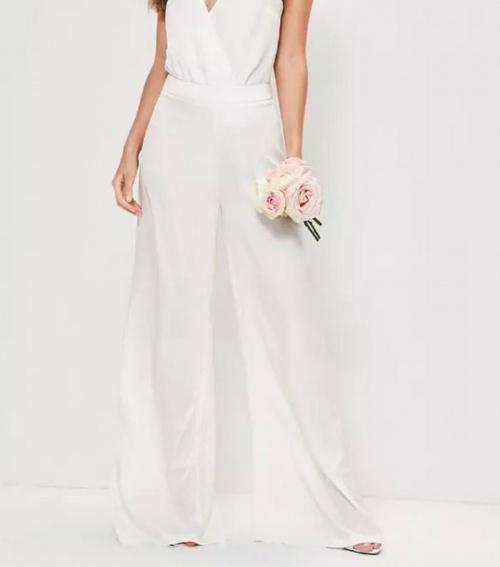 Pantalon de mariage blanc large