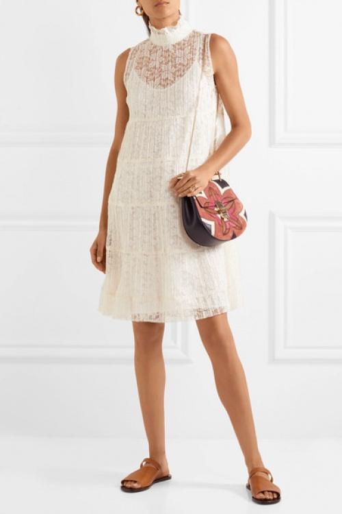 Mini-robe à empiècements en dentelle plissée