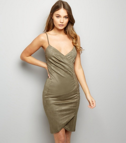 robe verte en suède