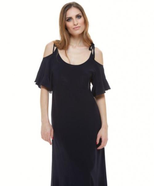 Robe longue noire épaules dénudées
