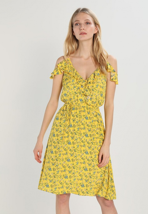 robe d'été jaune cache coeur