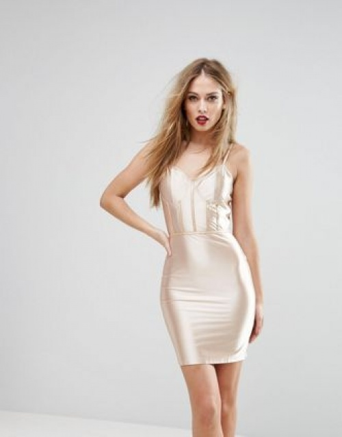 Robe moulante ultra brillante avec empiècements effet corset