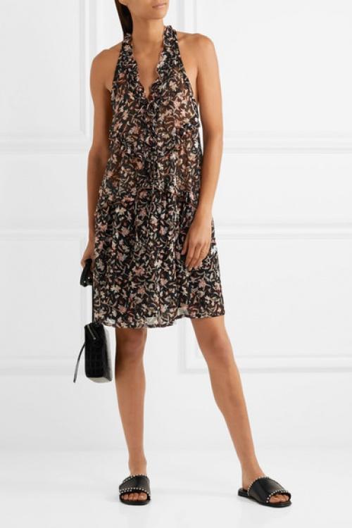Mini-robe en georgette imprimée à lacets