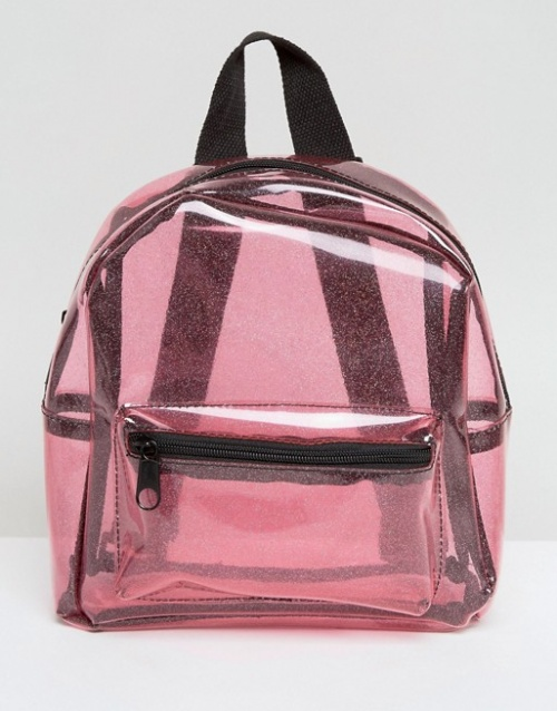 Missguided - Sac à dos transparent à paillettes